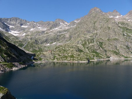 Lake, Reservoir, Mountains, Water, Cold, Clear, Energy
