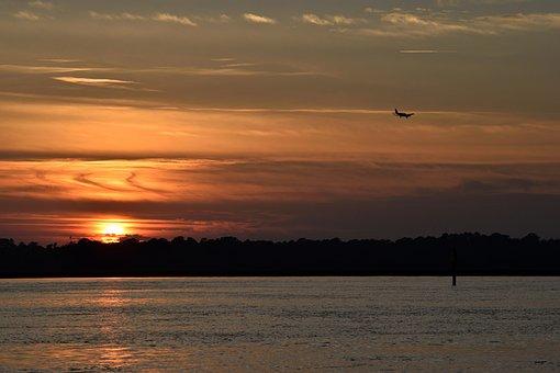 Sunset, Orange Sky, Landscape, Nature, Airplane, River