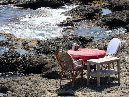Side, Beach, Restaurant, Table On The Sea, Stones, Rock