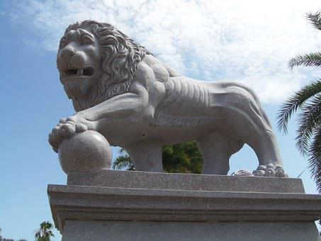 Lion, Statue, Marble, Sculpture, Architecture, Animal