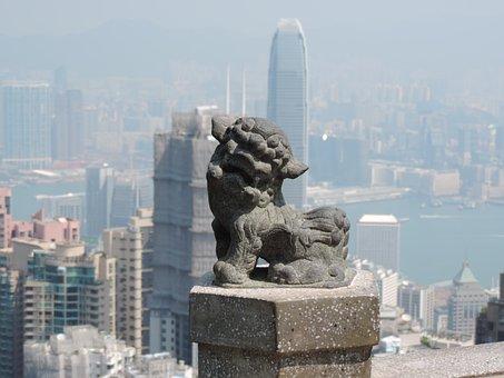 Hong Kong, Art, Lion, Sculpture, Stone Figure
