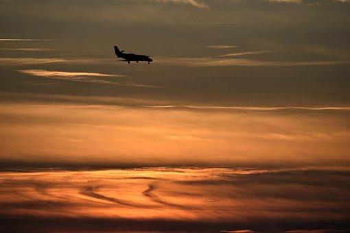 Sunset, Orange Sky, Airplane, Sun, Landscape, Evening