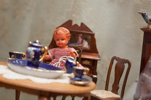 Child, Table, Chairs, Toys, Old, Antique, Play