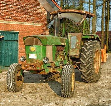 Tractor, John Deere, Farm, Rural, Barn, Country