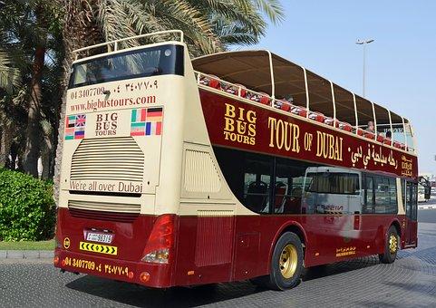 U A E, Dubai, Holiday, Palm Trees, Shuttle Bus, Traffic