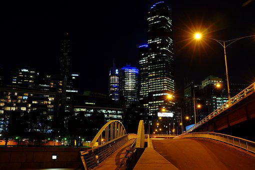 Travel, Vacation, Melbourne, Night, City, Urban, Light