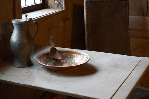 Middle Ages, Cutlery, Krug, Plate, Wooden Spoon, Lunch