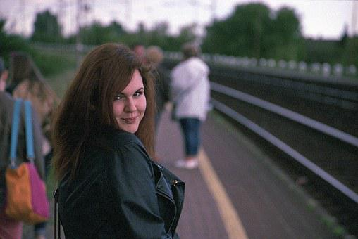 Young, Girl, Trainstation, Smile, Happy, People, Female