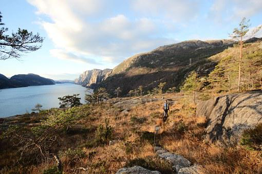 Fjord, Mountain, The Nature Of The, Autumn, Hiking