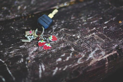Car Key, Key, Keyring, Strawberry, Strawberries