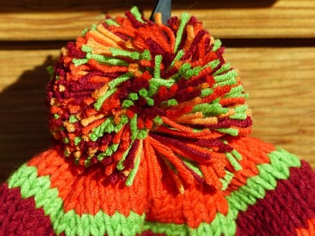 Cap, Bobble, Colorful, Orange, Cheerful, Warm, Knitted
