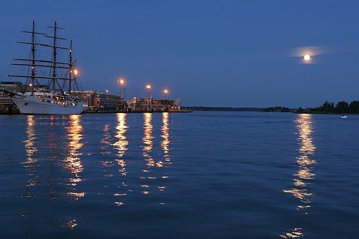 Helsinki, City, Night, Finland, Finnish, Water