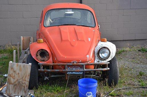 Vw, Car, Orange, Vin, Vintage, Transportation, Classic