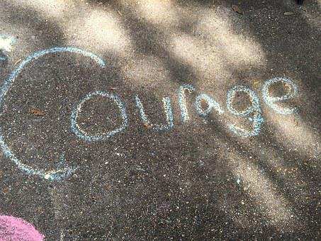 Courage, Chalk, Hand, Drawing, Inspiring, Inspire