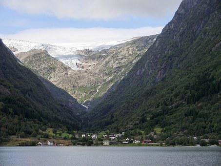 Glacier, Fjord, Norway, Ice, Mountains, Settlement