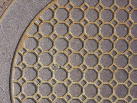 Manhole Cover, Cast Iron, Octagons, Circle, Geometry