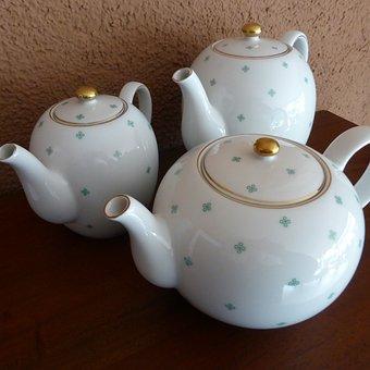 Porcelain, Tableware, Coffee Pot, Teapot, Green, White