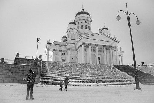 Old, Tourism, Helsinki, Helsinki Cathedral, Person