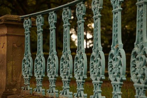 Fence, Old, Turquoise, Metal, Close, Iron Construction