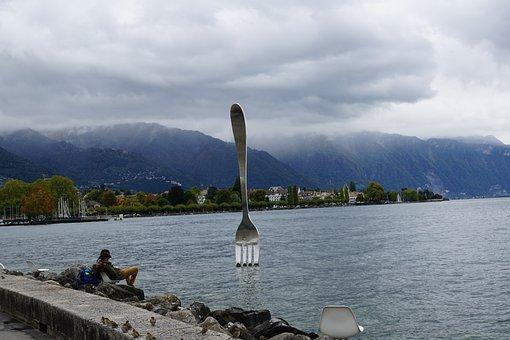 Vevey, Switzerland, Lake Geneva, Chair, Lake, Water