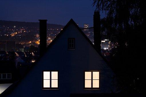 Night, Home, 2 Window, Apartment, Enlightened, Light