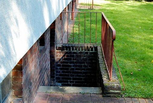 Basement Stairs, Railing, Rust, Meadow, Bricks
