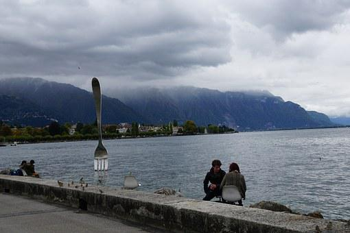 Fork, Pair, Lake, Lake Geneva, Vevey, Switzerland, Mood