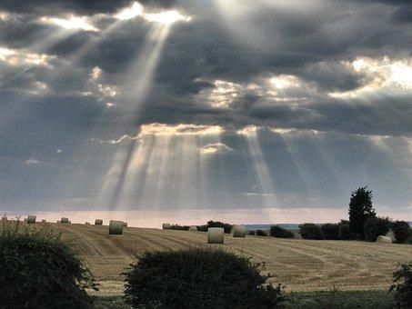Clouds, Light, Shaft, Fields, Nature, Sun, Sunlight