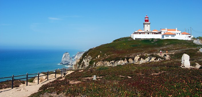 Lighthouse, Cabo Da Roca, Portugal, West, Europe, Ocean