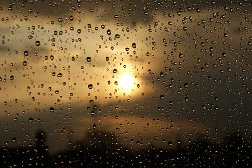 Drops, Rain, Water, Clouds, Sunset, Macro, Pane