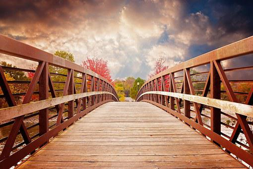 Bridge, Nature, Fall, River, Evening, Scenic, Autumn
