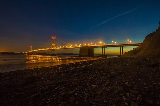 Severn Bridge, Night, River, Twilight, Light