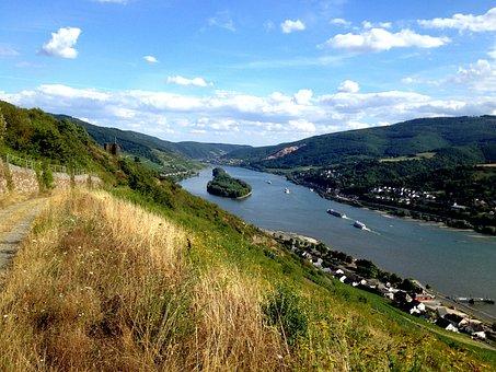 River, Rhein, Panorama, Landscape, Sky, Blue, Clouds