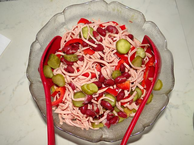 Colorful, Sausage Salad, Dinner, Refrigerator, Sour