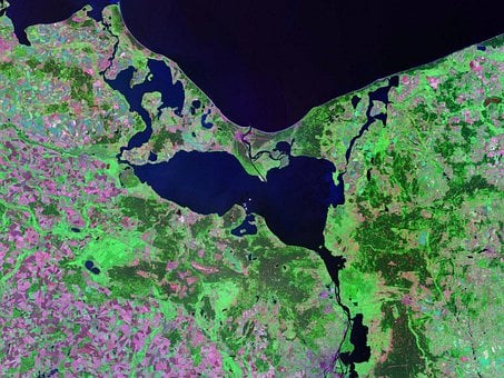 Pomeranian Bay, Stettiner Haff, Aerial View, Land, Map