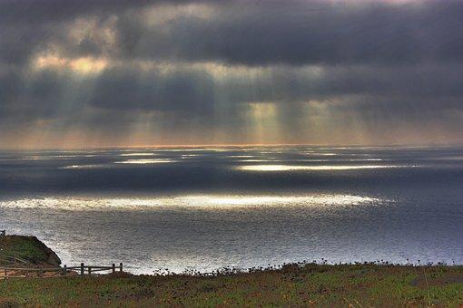 Sunset, Sea, Cabo Da Roca, Portugal, Stowmy, Clouds