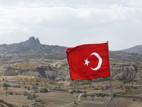 Flag, Turkey, Uchisar, Cappadocia, Blow, Crescent