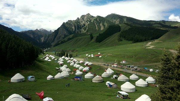 Yurts, In Xinjiang, Views, Landscape, Mountain, Camp