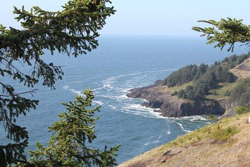 Oregon, Coast, Landscape, Ocean, Pacific, Sea, Water