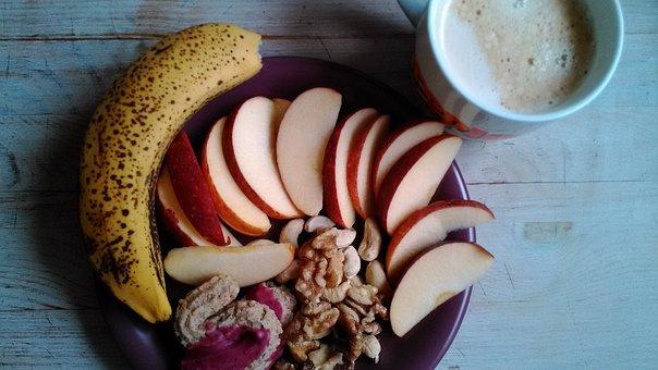 Breakfast, Banana, Apple, Plate, Healthy, Cup, Food