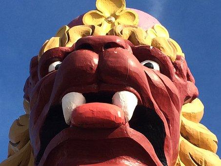 Figurehead, Voc, Prow, Lion, Image, Flagship, Blue Sky
