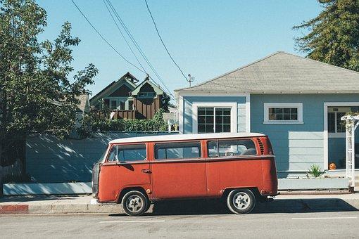 House, Parked, Pavement, Road, Street, Van, Vehicle