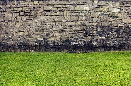Wall, Old Wall, Grass, Green, Lawn, Historic Walls