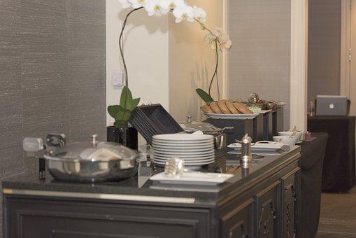 Breakfast, Table, Flower, Plate, Silver, White, Food