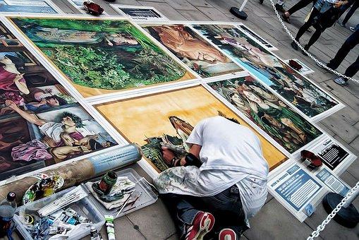Artist, Painting, Street, London, Decoration