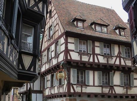 Alsace, Colmar, Facades, Pinions, Studs, Old Houses