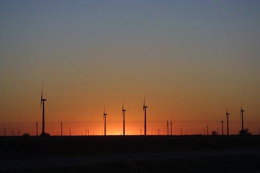Wind Turbines, Alternate Energy, Sunset, Kansas, Plains