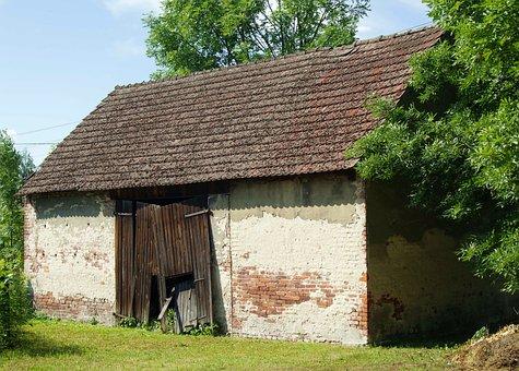 Barn, Cowshed, Village, Building, Wooden Doors