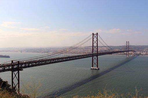 Bridge, Lisbon, City, Portugal, Tejo, 25 April Bridge