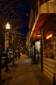 City, Sidewalk, Downtown, Shops, Storefronts, Late